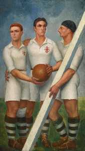Tres futbolistas con boina