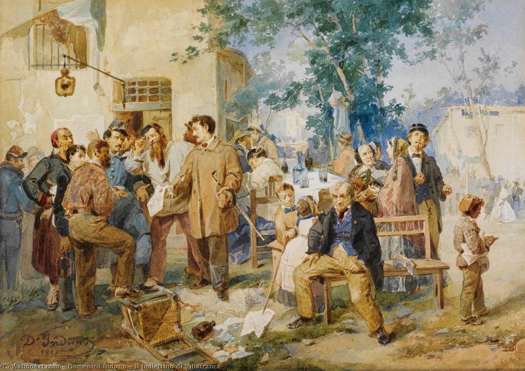 Wikioo.org - The Encyclopedia of Fine Arts - Painting, Artwork by Domenico Induno - Il bollettino di Villafranca