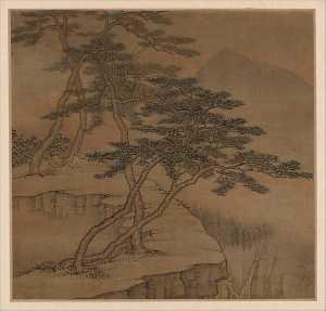 清 高岑 擬古山水圖 冊 絹本 Landscapes in the styles of old masters