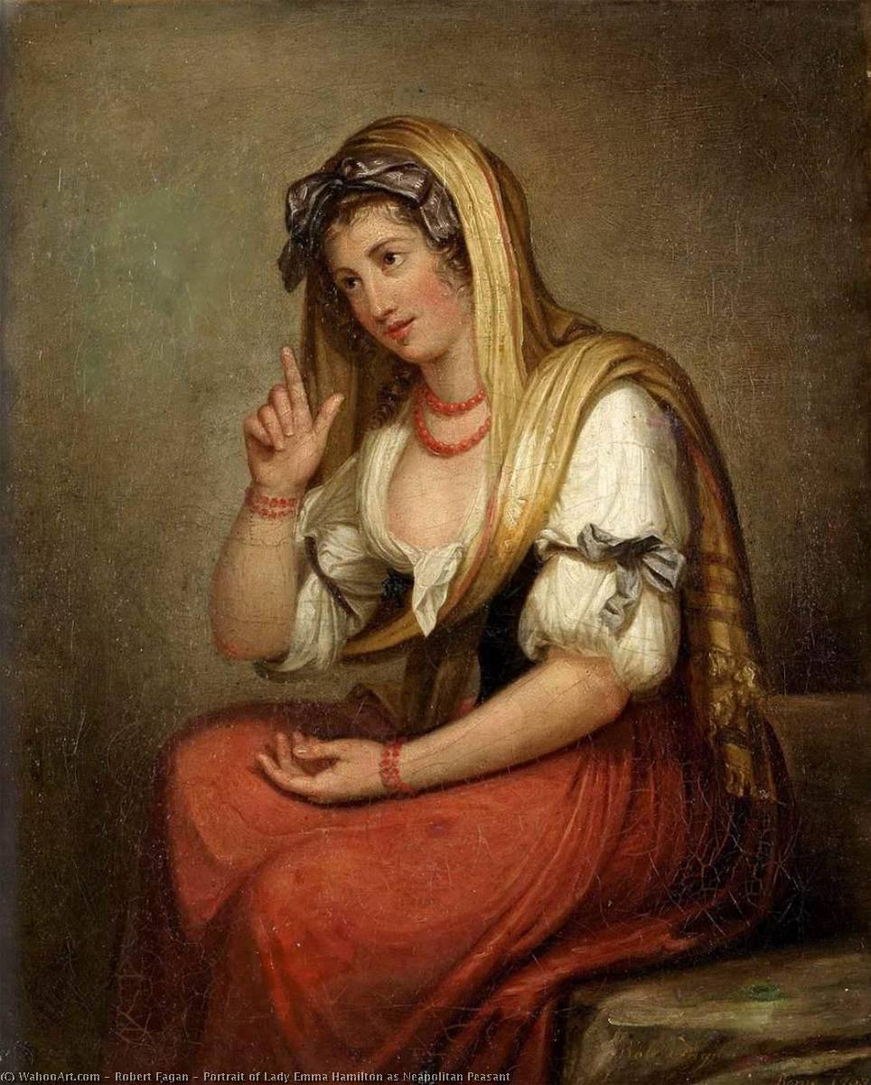 Wikioo.org - The Encyclopedia of Fine Arts - Painting, Artwork by Robert Fagan - Portrait of Lady Emma Hamilton as Neapolitan Peasant