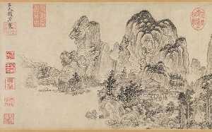 元 趙原 (元) 倣燕文貴范寬山水圖 卷 Landscape in the Style of Yan Wengui and Fan Kuan