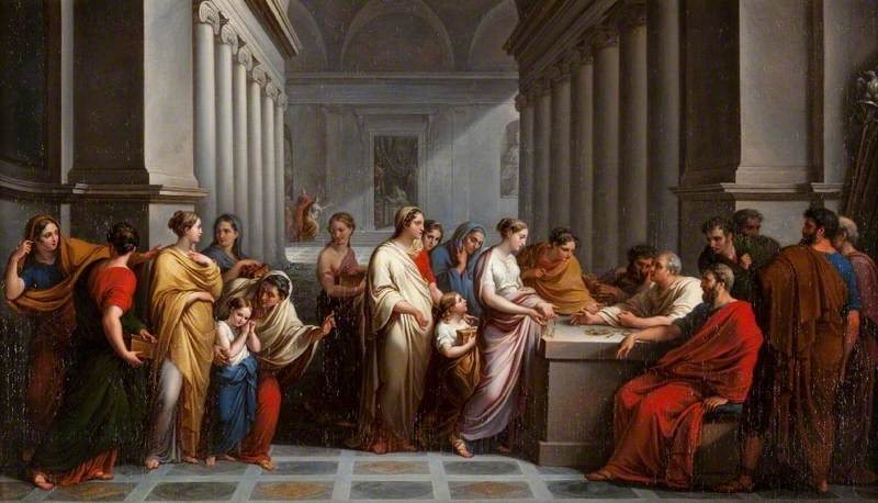 Wikioo.org - The Encyclopedia of Fine Arts - Painting, Artwork by Vincenzo Camuccini - Roman Women Offering Their Jewellery in Defence of the State