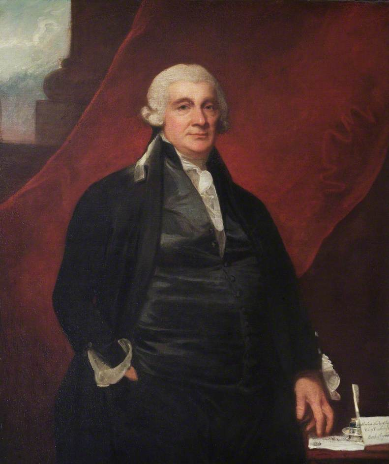 Wikioo.org - The Encyclopedia of Fine Arts - Painting, Artwork by George Romney - Abraham Newland (1730–1807), Chief Cashier of the Bank of England (1782–1807)