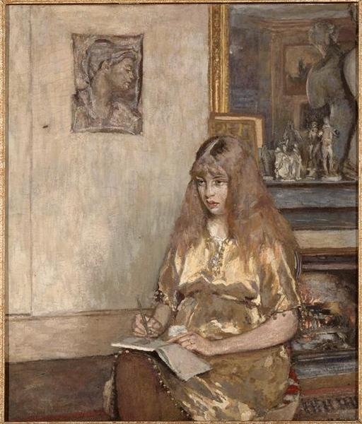 Wikioo.org - The Encyclopedia of Fine Arts - Painting, Artwork by Jean Edouard Vuillard - PORTRAIT DE GENEVIEVE BERNHEIM DE VILLERS