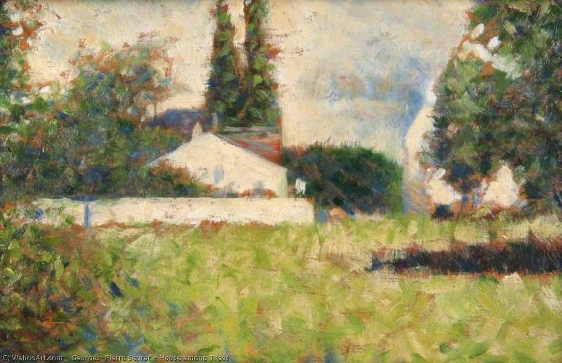 Wikioo.org - The Encyclopedia of Fine Arts - Painting, Artwork by Georges Pierre Seurat - House among Trees