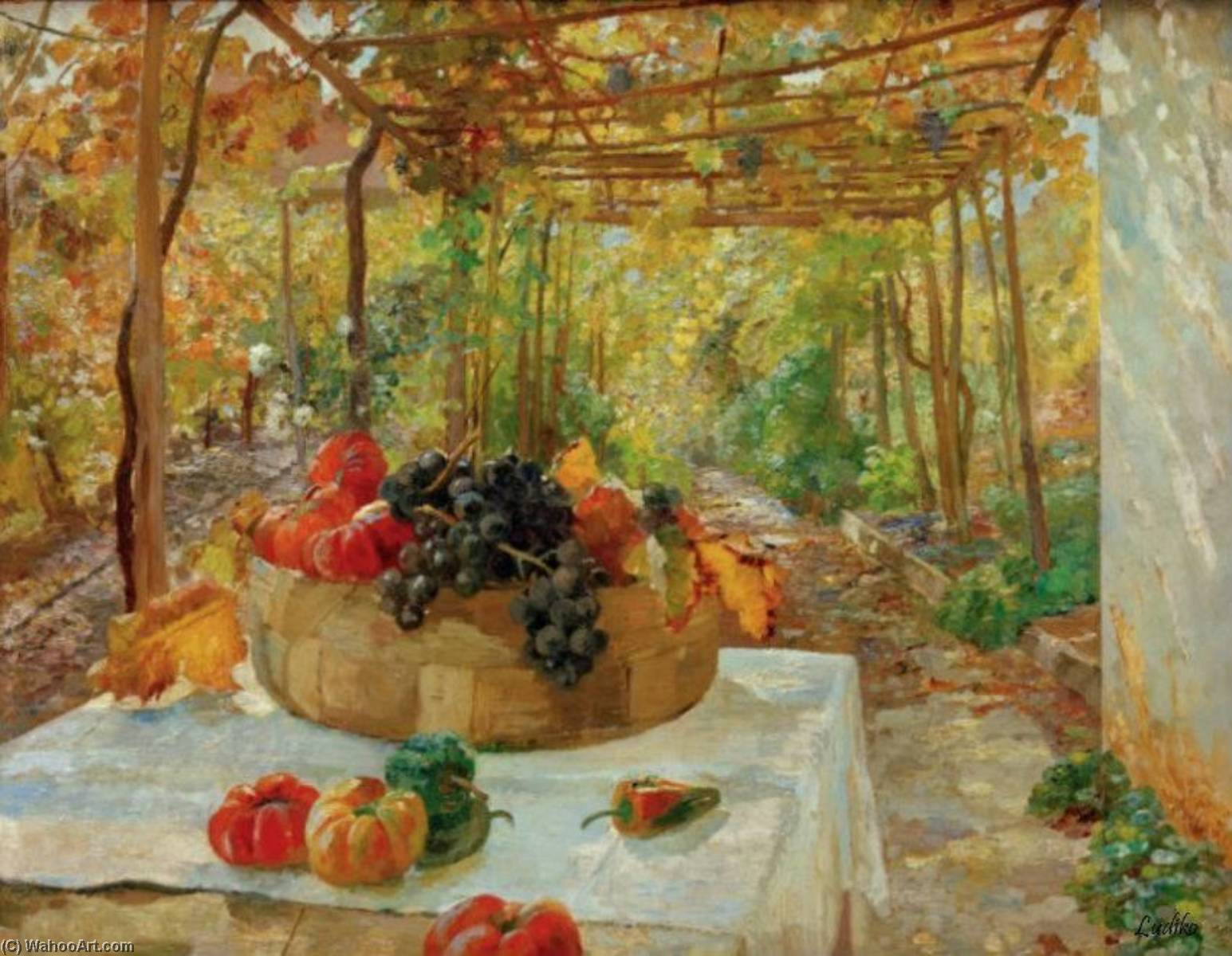 Wikioo.org - The Encyclopedia of Fine Arts - Painting, Artwork by Marie Egner - In the Pergola