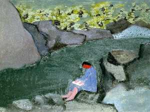Girl Reading by a Lake
