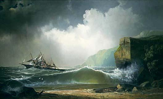 Wikioo.org - The Encyclopedia of Fine Arts - Painting, Artwork by John Mix Stanley - After a Storm on the Lee Shore, (painting)