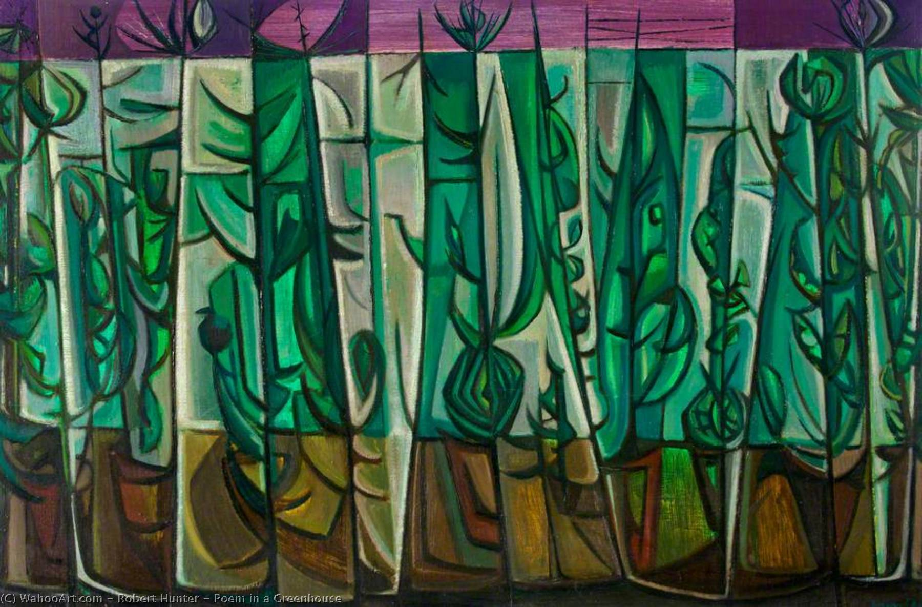 Wikioo.org - The Encyclopedia of Fine Arts - Painting, Artwork by Robert Hunter - Poem in a Greenhouse