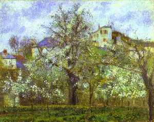 Vegetable Garden and Trees in Blossom, Spring, Pontoise - Camille Pissarro