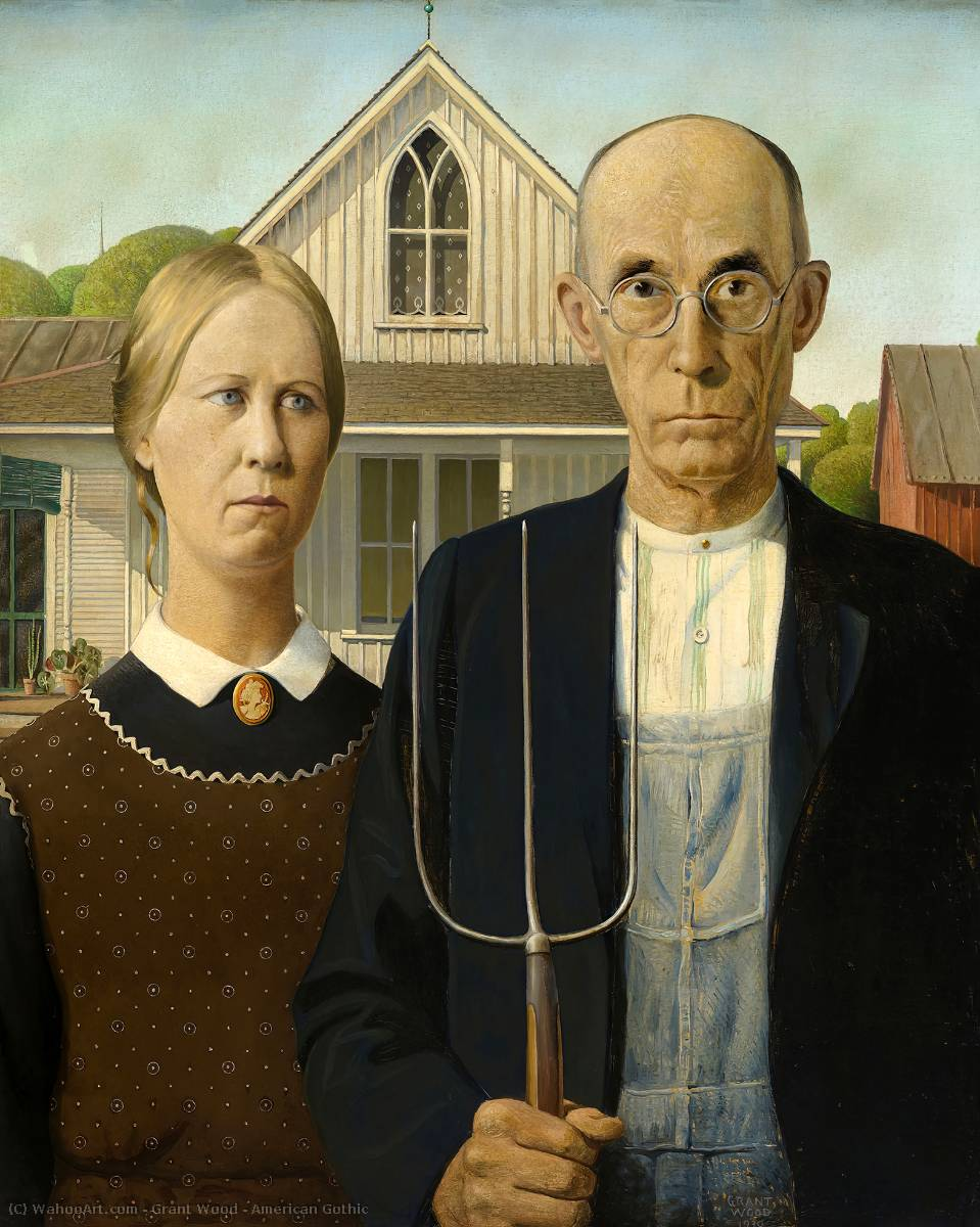 Wikioo.org - The Encyclopedia of Fine Arts - Painting, Artwork by Grant Wood - American Gothic