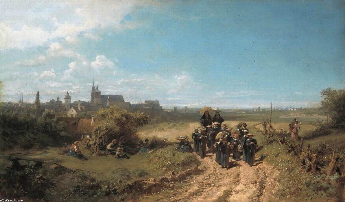 La salida convento-escuela - Carl Spitzweg