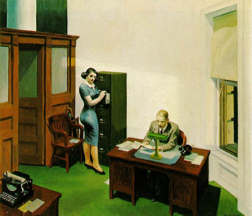 Wikioo.org - The Encyclopedia of Fine Arts - Painting, Artwork by Edward Hopper - Office at Night