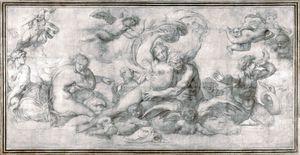 A Woman borne off by a Sea God - Agostino Carracci