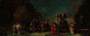 Fountain in a Park - Adolphe Joseph Thomas Monticelli